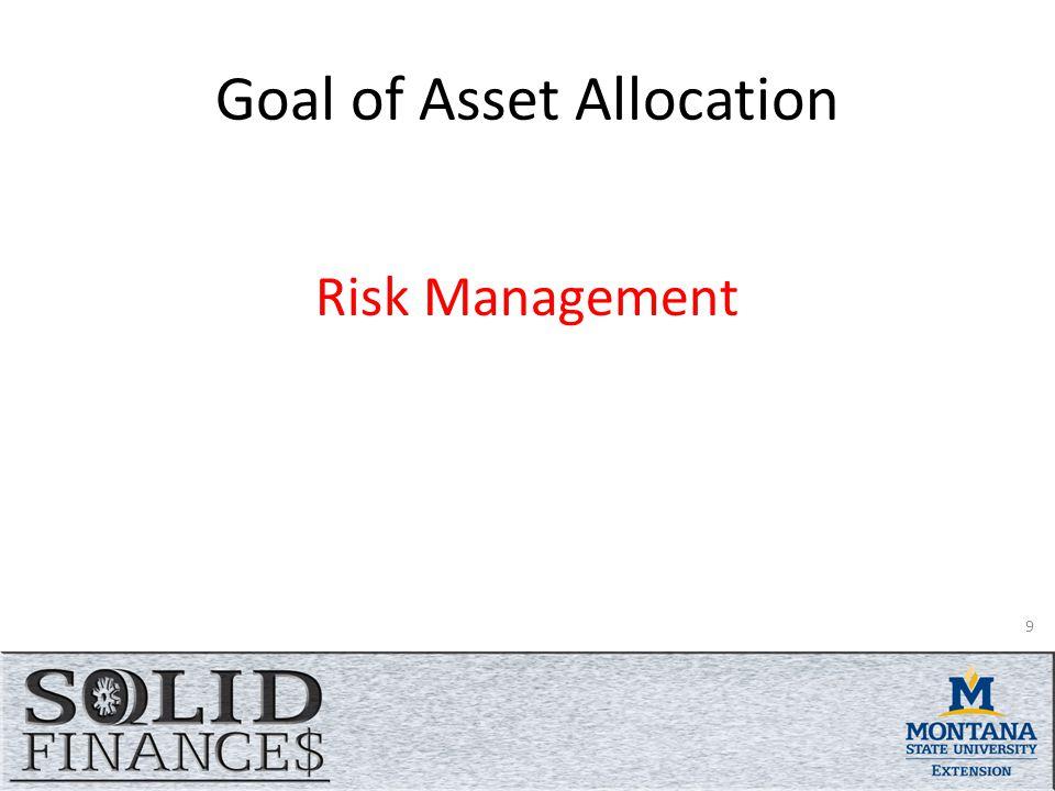 Goal of Asset Allocation Risk Management 9