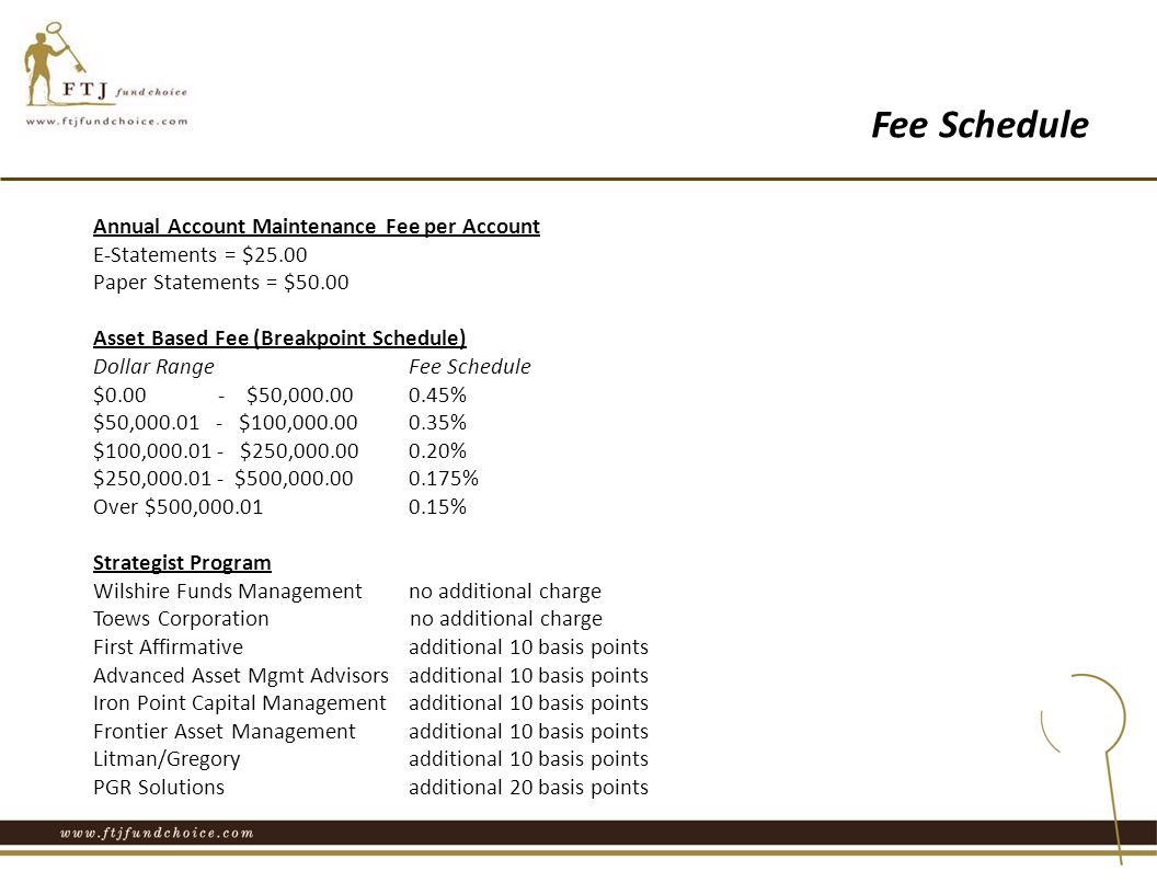 Annual Account Maintenance Fee per Account E-Statements = $25.00 Paper Statements = $50.00 Asset Based Fee (Breakpoint Schedule) Dollar Range Fee Schedule $0.00 ‐ $50,000.000.45% $50,000.01 ‐ $100,000.00 0.35% $100,000.01 ‐ $250,000.00 0.20% $250,000.01 ‐ $500,000.00 0.175% Over $500,000.01 0.15% Strategist Program Wilshire Funds Management no additional charge Toews Corporation no additional charge First Affirmative additional 10 basis points Advanced Asset Mgmt Advisors additional 10 basis points Iron Point Capital Management additional 10 basis points Frontier Asset Management additional 10 basis points Litman/Gregory additional 10 basis points PGR Solutions additional 20 basis points Fee Schedule
