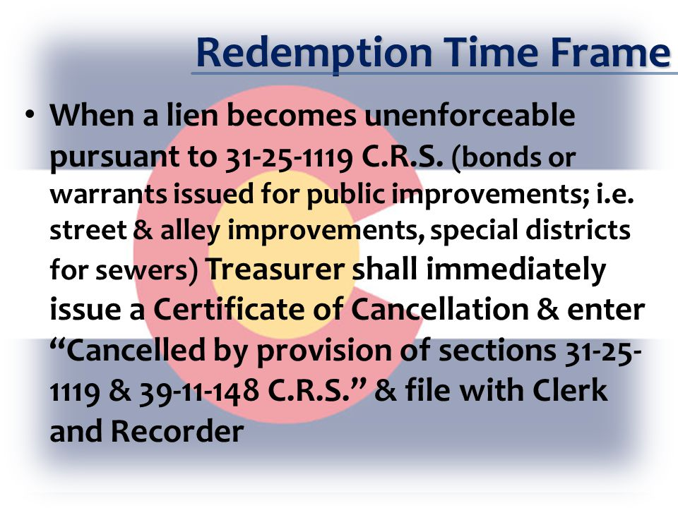 Assignment of County Held Tax Lien Certificates When assigning a County Held certificate Have individual request assignment in writing Treasurer may assign County held certificates less than $10,000 in taxes (39-11- 120 & 39-11-122 C.R.S.) If greater than $10,000 it must be approved by administrator and published