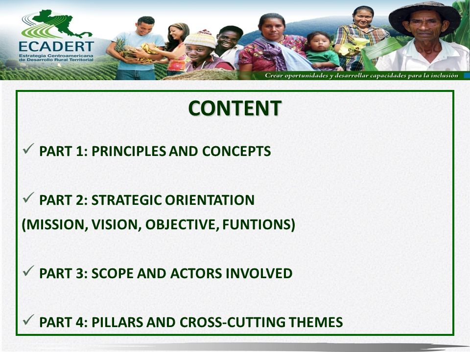 CONTENT PART 1: PRINCIPLES AND CONCEPTS PART 2: STRATEGIC ORIENTATION (MISSION, VISION, OBJECTIVE, FUNTIONS) PART 3: SCOPE AND ACTORS INVOLVED PART 4: PILLARS AND CROSS-CUTTING THEMES
