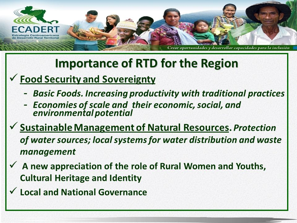Importance of RTD for the Region Food Security and Sovereignty - Basic Foods.