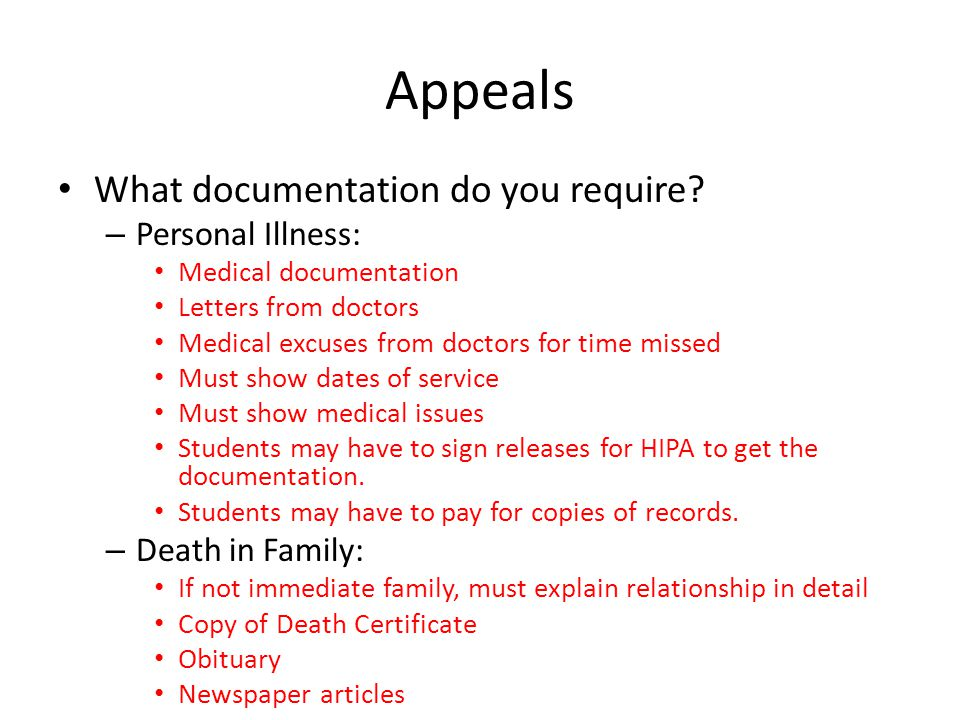Appeals What documentation do you require.