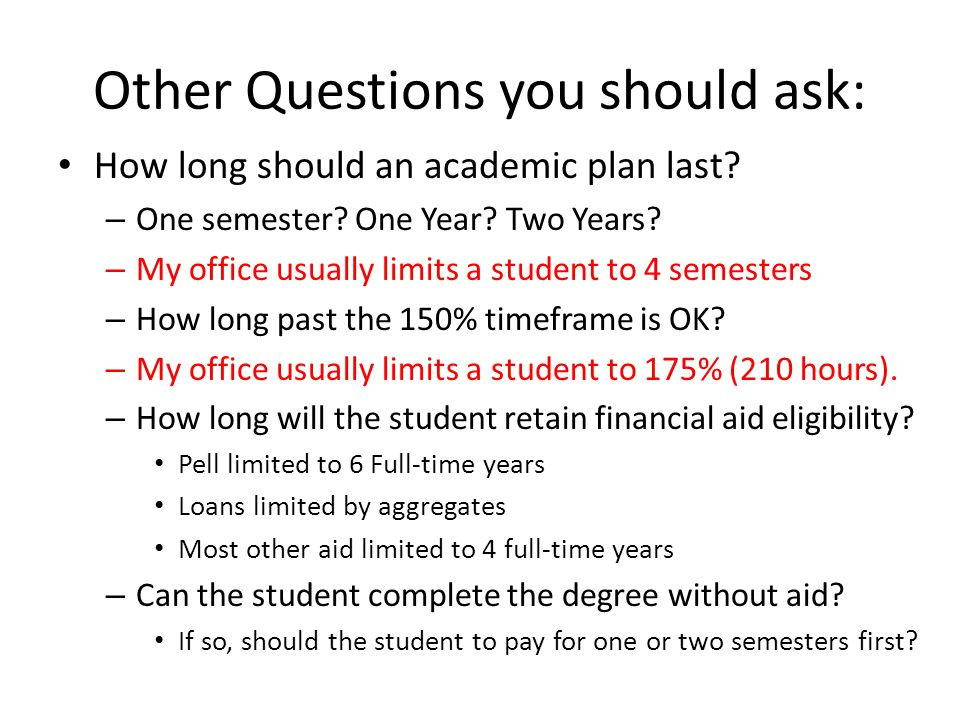 Other Questions you should ask: How long should an academic plan last.