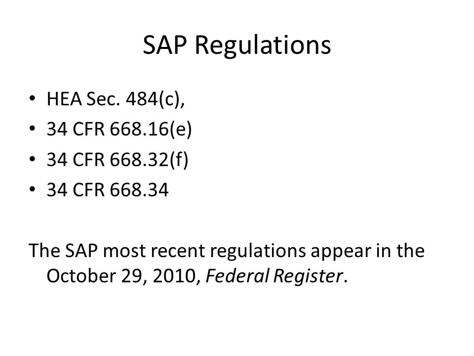 SAP Regulations HEA Sec.