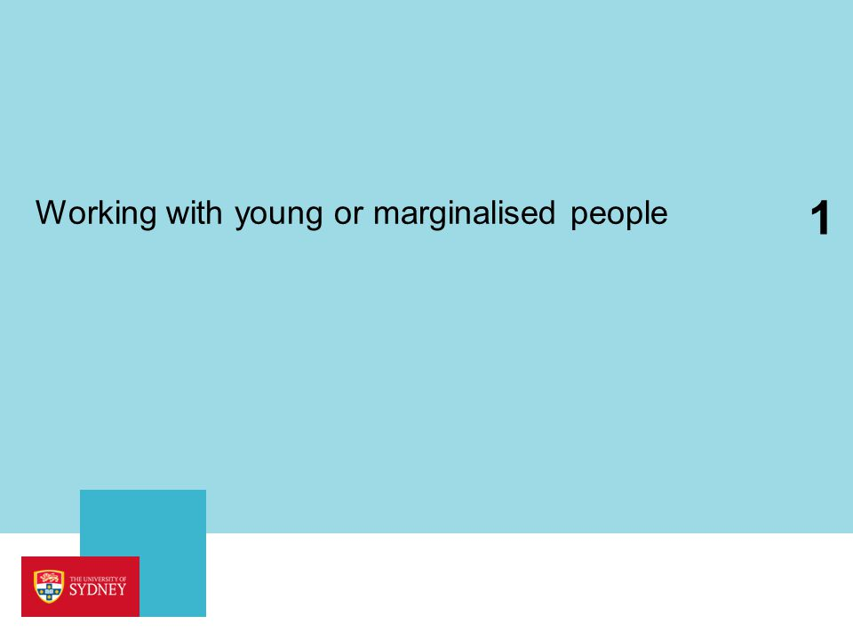 Working with young or marginalised people 1