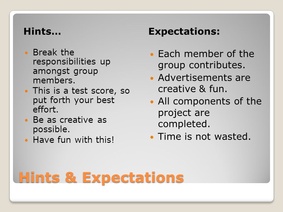 Hints & Expectations Hints…Expectations: Break the responsibilities up amongst group members.