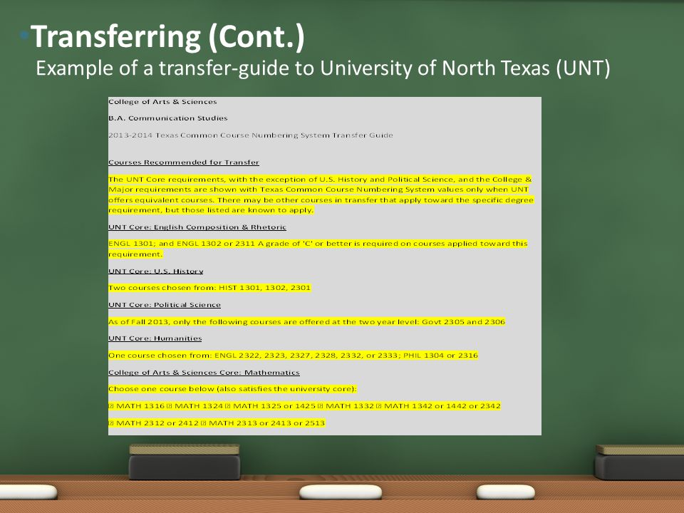 Example of a transfer-guide to University of North Texas (UNT) Transferring (Cont.)
