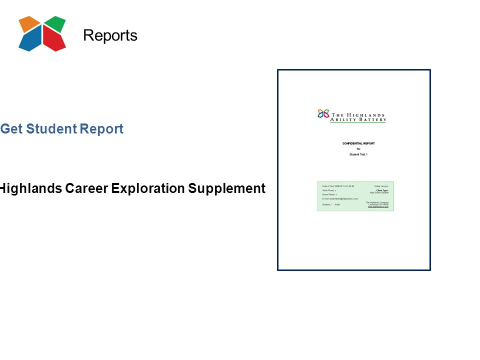 Reports Highlands Career Exploration Supplement Get Student Report