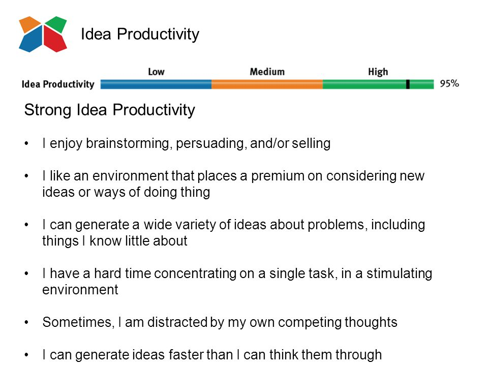 Idea Productivity Strong Idea Productivity I enjoy brainstorming, persuading, and/or selling I like an environment that places a premium on considering new ideas or ways of doing thing I can generate a wide variety of ideas about problems, including things I know little about I have a hard time concentrating on a single task, in a stimulating environment Sometimes, I am distracted by my own competing thoughts I can generate ideas faster than I can think them through
