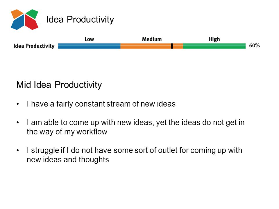 Idea Productivity Mid Idea Productivity I have a fairly constant stream of new ideas I am able to come up with new ideas, yet the ideas do not get in the way of my workflow I struggle if I do not have some sort of outlet for coming up with new ideas and thoughts