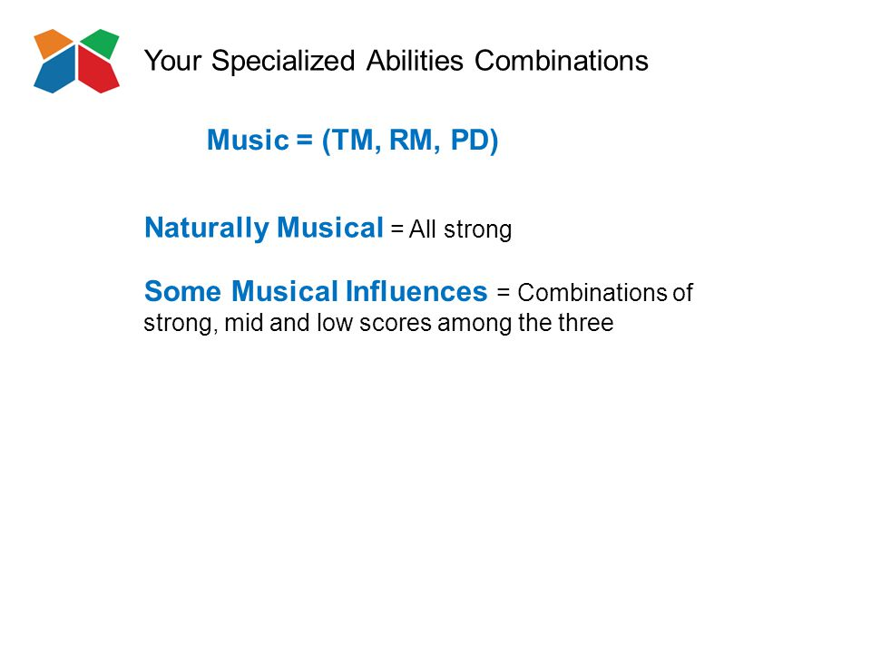 Your Specialized Abilities Combinations Naturally Musical = All strong Music = (TM, RM, PD) Some Musical Influences = Combinations of strong, mid and low scores among the three