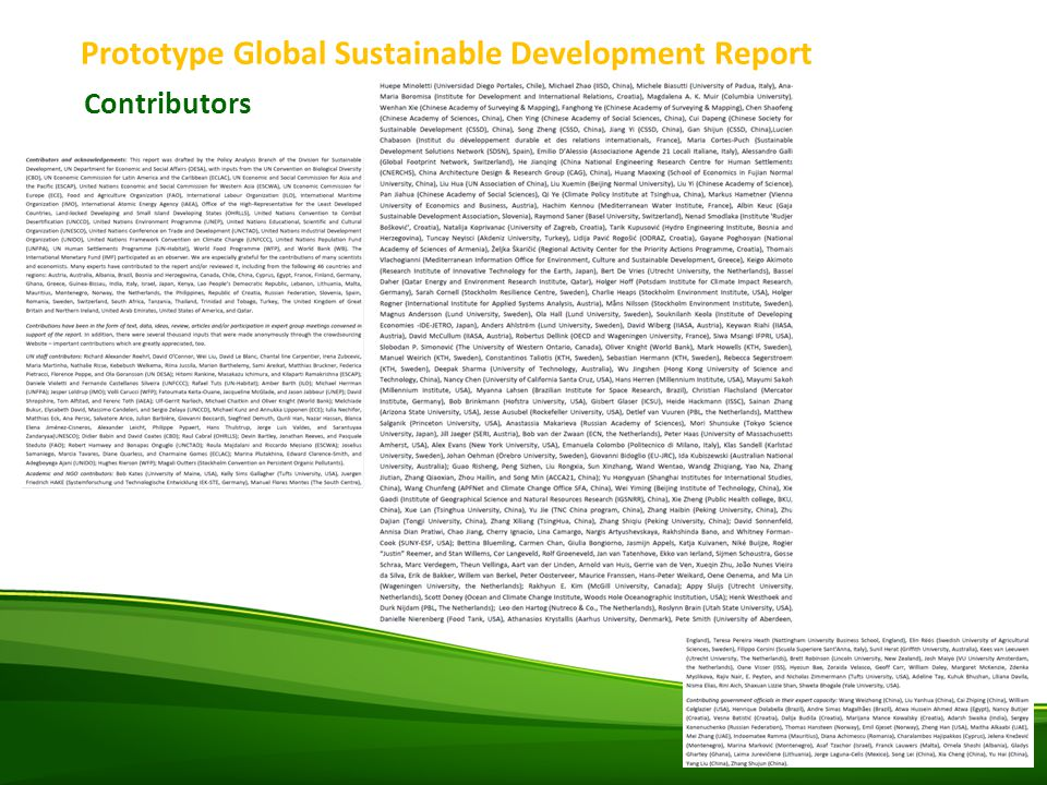 Prototype Global Sustainable Development Report Contributors