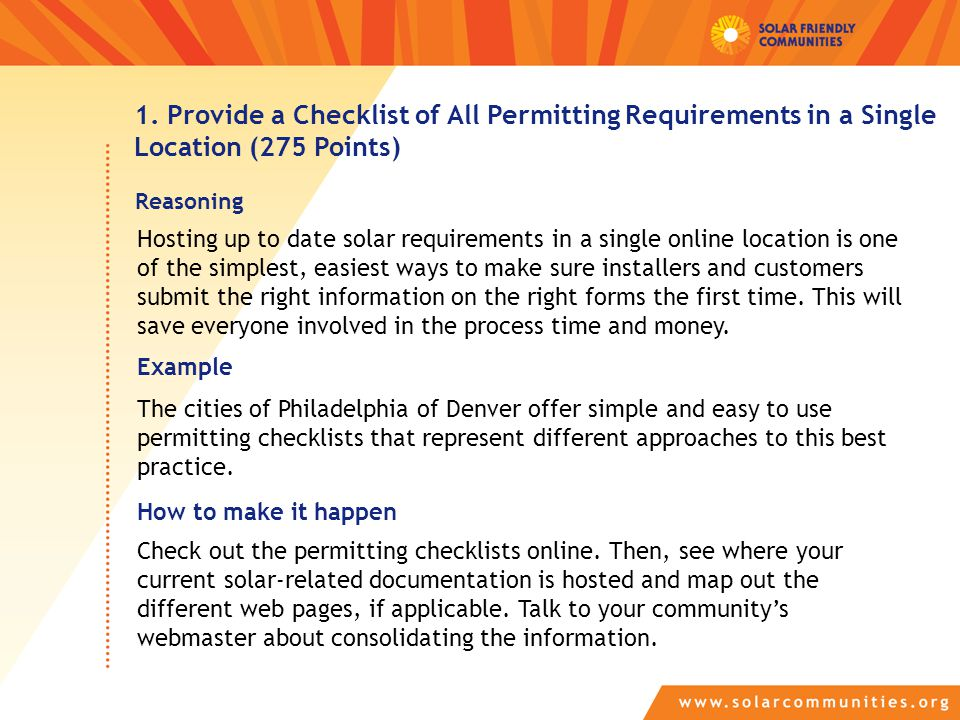 1. Provide a Checklist of All Permitting Requirements in a Single Location (275 Points) Reasoning Example Hosting up to date solar requirements in a s