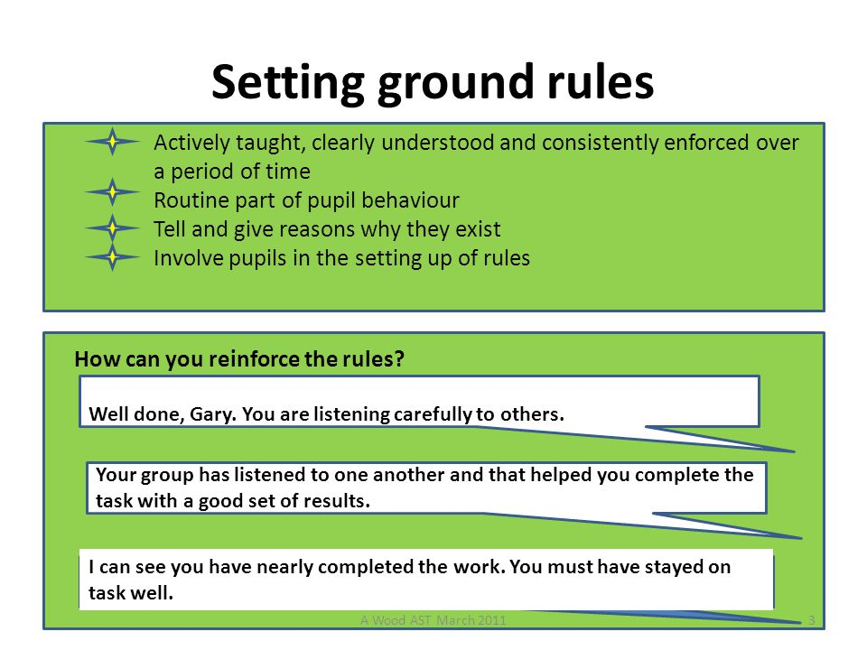 Setting ground rules Actively taught, clearly understood and consistently enforced over a period of time Routine part of pupil behaviour Tell and give reasons why they exist Involve pupils in the setting up of rules How can you reinforce the rules.