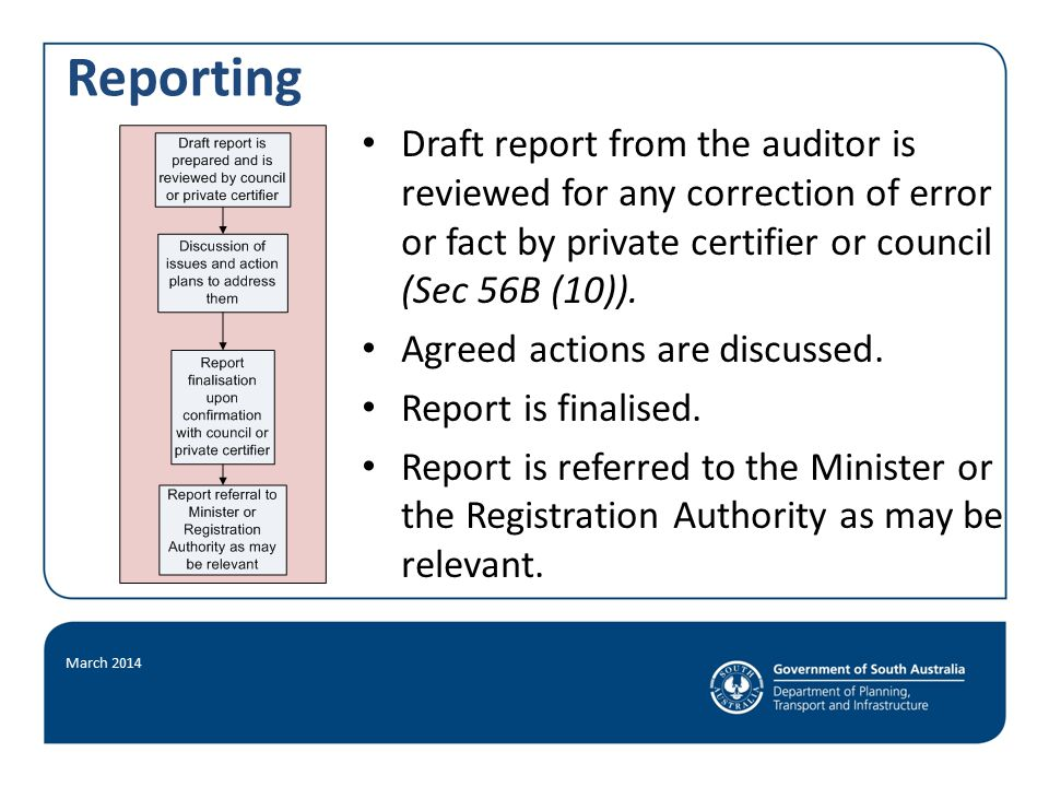 Reporting March 2014 Draft report from the auditor is reviewed for any correction of error or fact by private certifier or council (Sec 56B (10)).