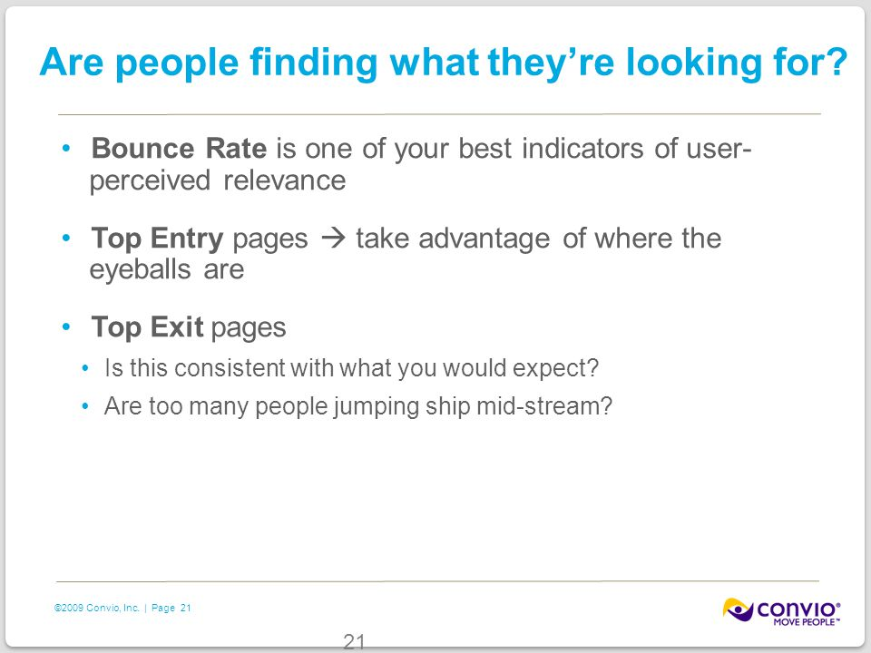 21 ©2009 Convio, Inc. | Page Are people finding what they're looking for? Bounce Rate is one of your best indicators of user- perceived relevance Top