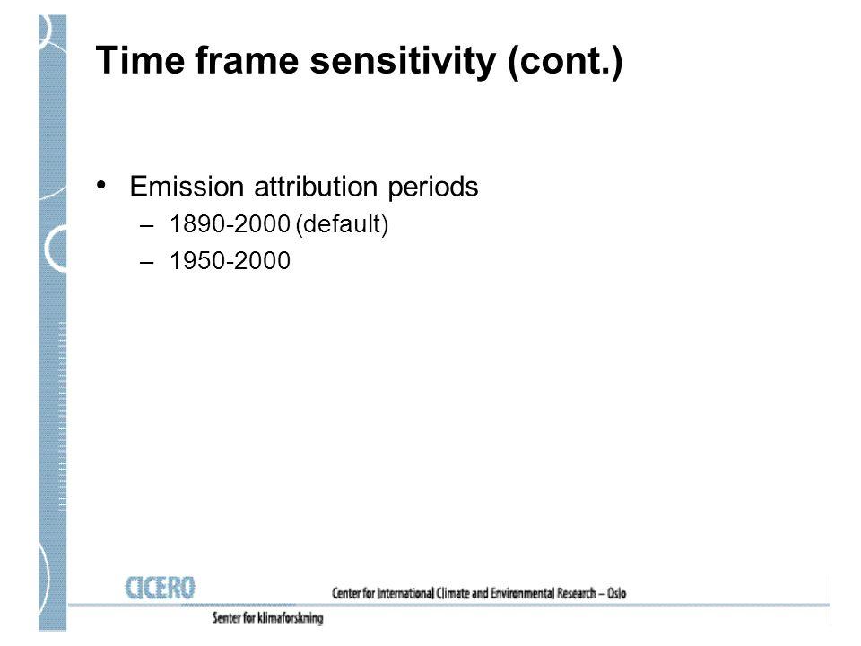 Time frame sensitivity (cont.) Emission attribution periods –1890-2000 (default) –1950-2000