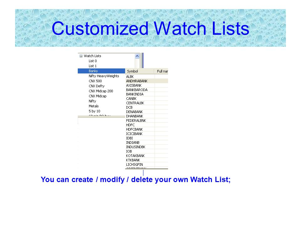 Customized Watch Lists You can create / modify / delete your own Watch List;