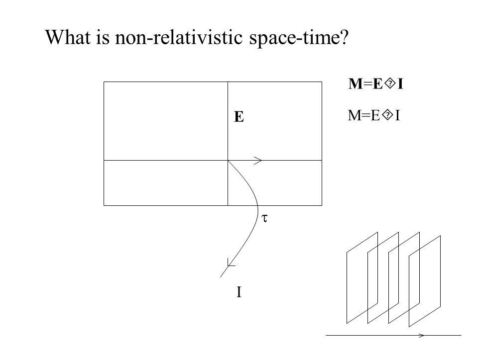 What is non-relativistic space-time M=E  I M=EIM=EI E  I