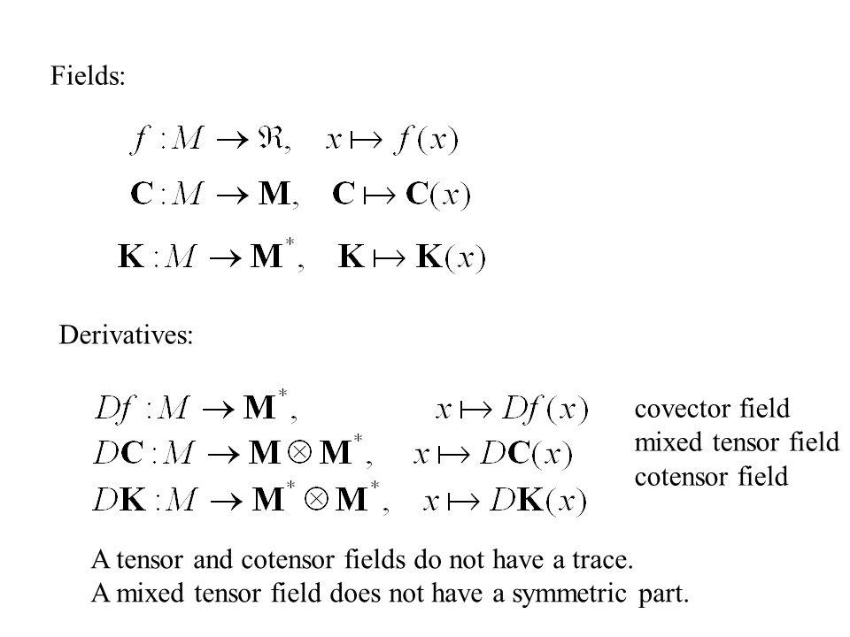 Fields: Derivatives: covector field mixed tensor field cotensor field A tensor and cotensor fields do not have a trace. A mixed tensor field does not