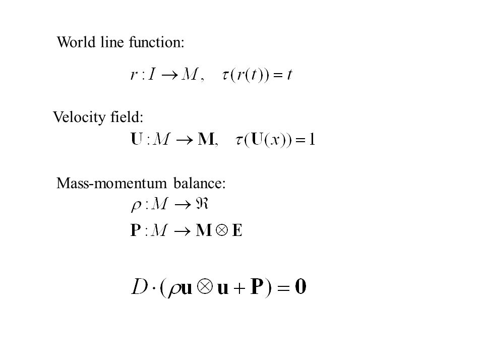Velocity field: Mass-momentum balance: World line function: