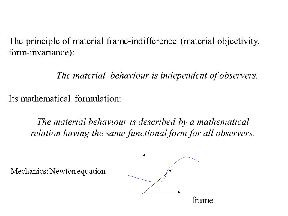 The principle of material frame-indifference (material objectivity, form-invariance): The material behaviour is independent of observers.