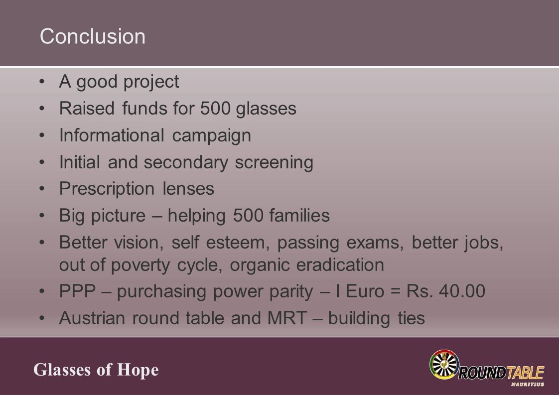 Glasses of Hope Conclusion A good project Raised funds for 500 glasses Informational campaign Initial and secondary screening Prescription lenses Big picture – helping 500 families Better vision, self esteem, passing exams, better jobs, out of poverty cycle, organic eradication PPP – purchasing power parity – I Euro = Rs.