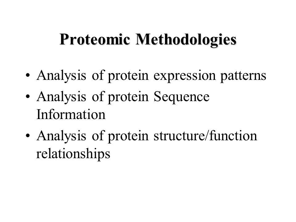 Proteomic Methodologies Analysis of protein expression patterns Analysis of protein Sequence Information Analysis of protein structure/function relationships