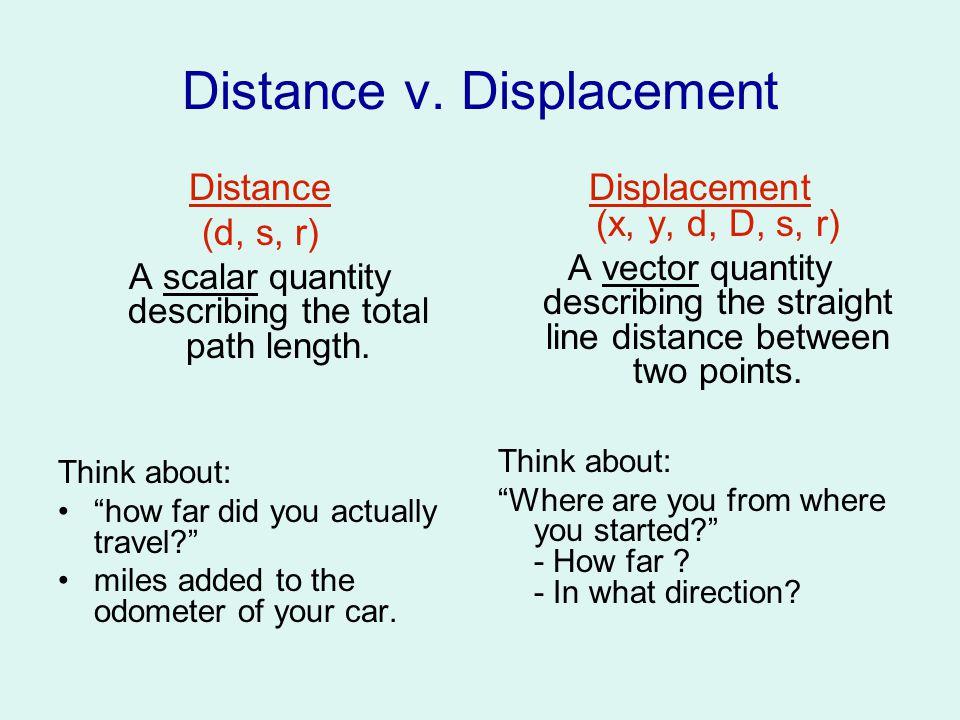 Distance v.Displacement Distance (d, s, r) A scalar quantity describing the total path length.