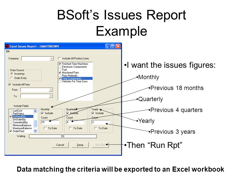 BSoft's Issues Report Example I want the issues figures: Monthly Previous 18 months Quarterly Previous 4 quarters Yearly Previous 3 years Then Run Rpt Data matching the criteria will be exported to an Excel workbook