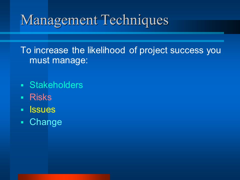 Management Techniques To increase the likelihood of project success you must manage:  Stakeholders  Risks  Issues  Change