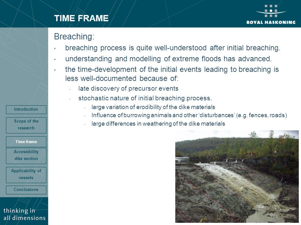 TIME FRAME Breaching: breaching process is quite well-understood after initial breaching. understanding and modelling of extreme floods has advanced.