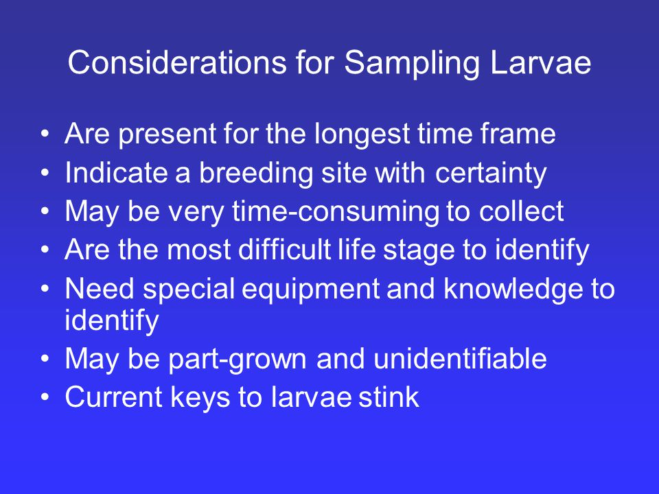 Considerations for Sampling Larvae Are present for the longest time frame Indicate a breeding site with certainty May be very time-consuming to collect Are the most difficult life stage to identify Need special equipment and knowledge to identify May be part-grown and unidentifiable Current keys to larvae stink
