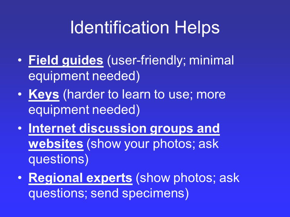Identification Helps Field guides (user-friendly; minimal equipment needed) Keys (harder to learn to use; more equipment needed) Internet discussion groups and websites (show your photos; ask questions) Regional experts (show photos; ask questions; send specimens)
