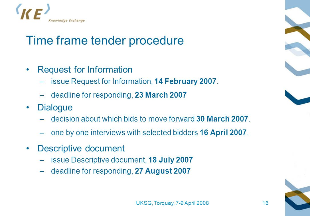 UKSG, Torquay, 7-9 April 200816 Time frame tender procedure Request for Information –issue Request for Information' 14 February 2007. –deadline for re
