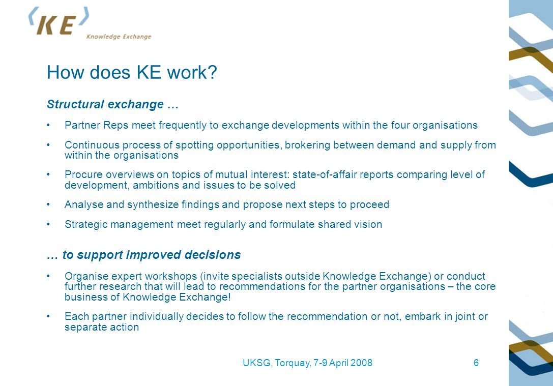 UKSG, Torquay, 7-9 April 20086 How does KE work? Structural exchange … Partner Reps meet frequently to exchange developments within the four organisat