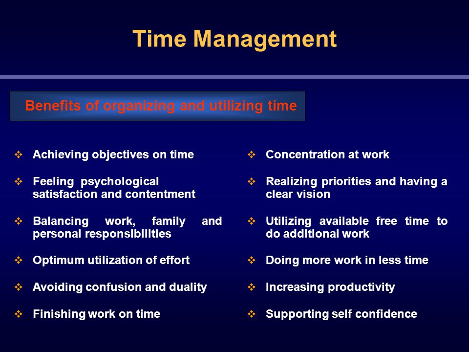 Time Management  Achieving objectives on time  Feeling psychological satisfaction and contentment  Balancing work, family and personal responsibilities  Optimum utilization of effort  Avoiding confusion and duality  Finishing work on time Benefits of organizing and utilizing time  Concentration at work  Realizing priorities and having a clear vision  Utilizing available free time to do additional work  Doing more work in less time  Increasing productivity  Supporting self confidence