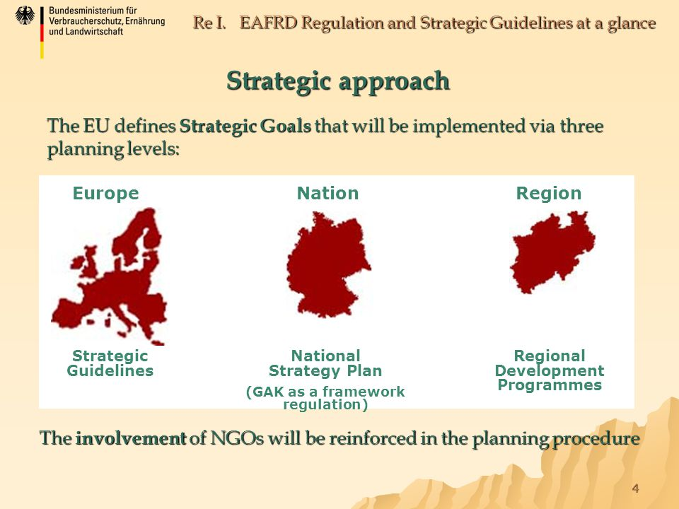 4 Re I. EAFRD Regulation and Strategic Guidelines at a glance Strategic approach The EU defines Strategic Goals that will be implemented via three pla