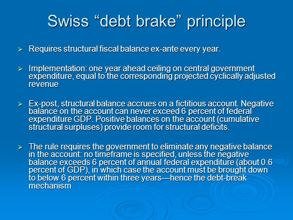 Swiss debt brake principle  Requires structural fiscal balance ex-ante every year.