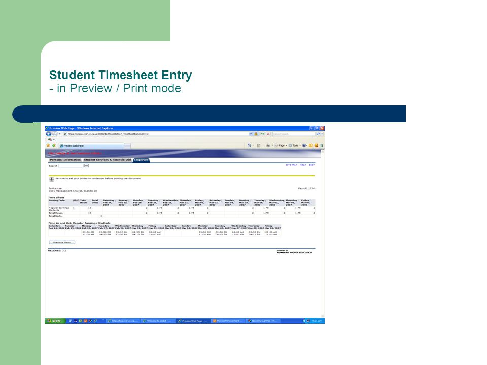 Student Timesheet Entry - in Preview / Print mode