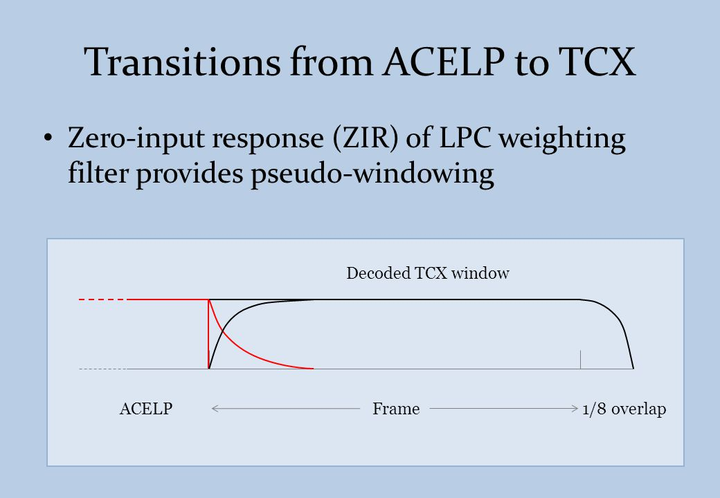Other changes brought to the LPD processing Critical sampling – MDCT vs.