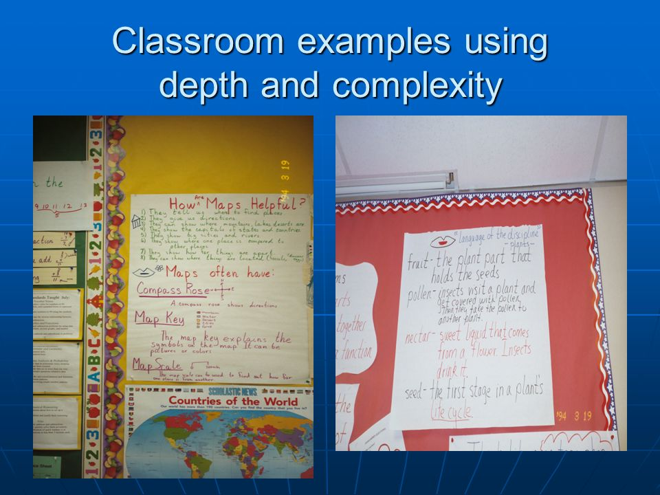Classroom examples using depth and complexity