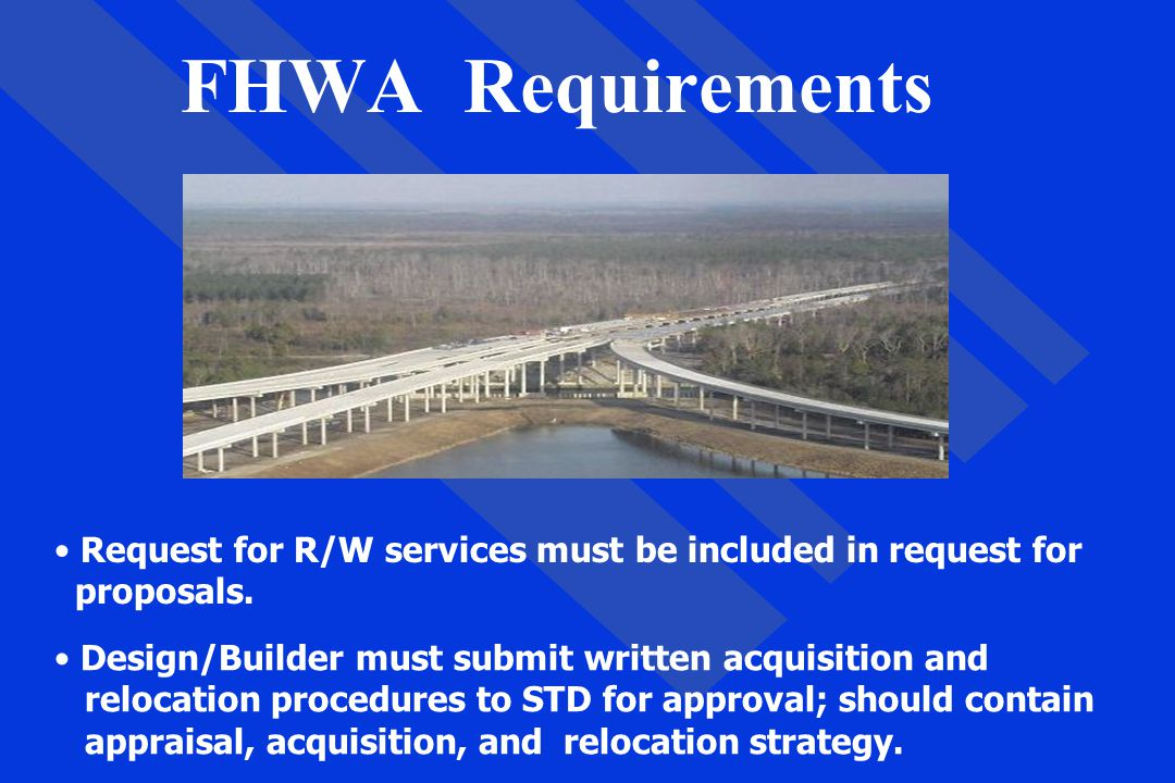 FHWA Requirements Request for R/W services must be included in request for proposals. Design/Builder must submit written acquisition and relocation pr