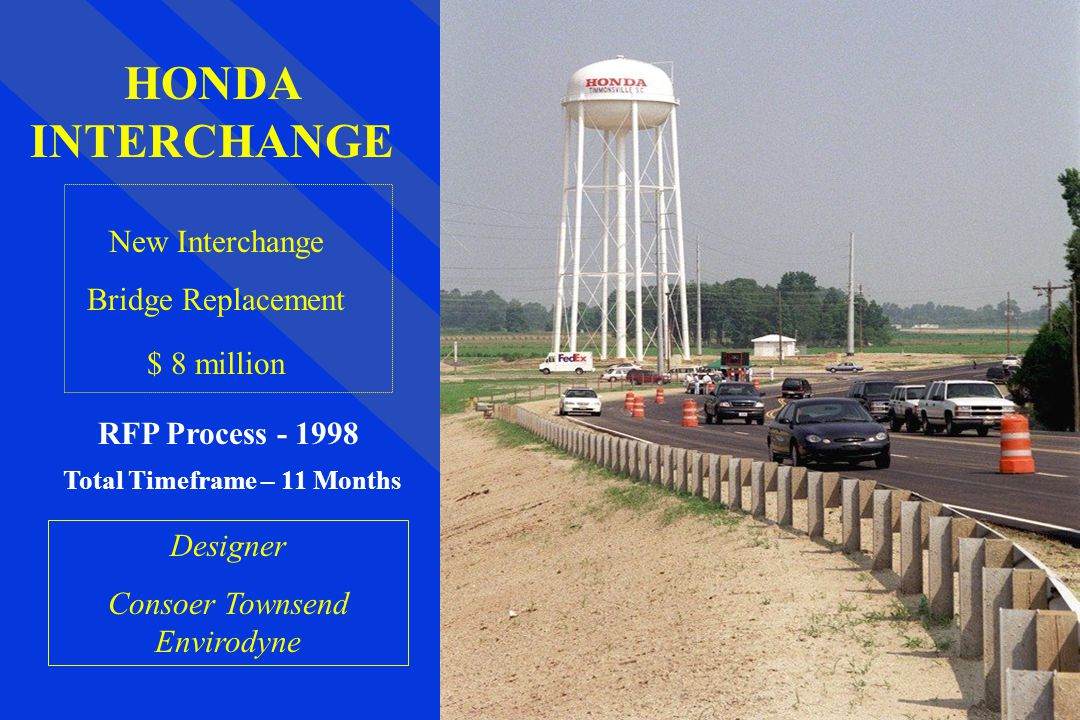 HONDA INTERCHANGE New Interchange Bridge Replacement $ 8 million RFP Process - 1998 Designer Consoer Townsend Envirodyne Total Timeframe – 11 Months