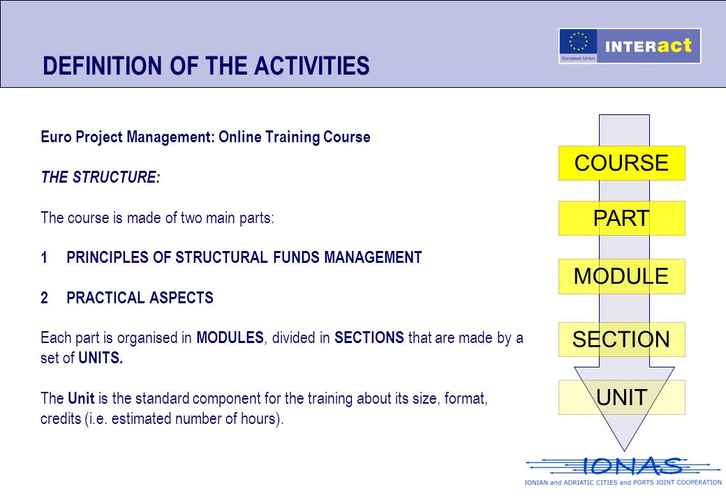 DEFINITION OF THE ACTIVITIES Euro Project Management: Online Training Course THE STRUCTURE: The course is made of two main parts: 1PRINCIPLES OF STRUC