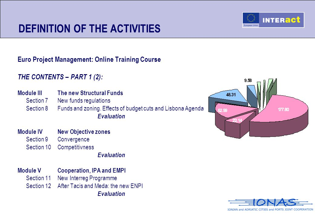 DEFINITION OF THE ACTIVITIES Euro Project Management: Online Training Course THE CONTENTS – PART 1 (2): Module IIIThe new Structural Funds Section 7Ne