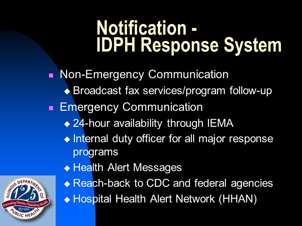 Notification - IDPH Response System Non-Emergency Communication  Broadcast fax services/program follow-up Emergency Communication  24-hour availability through IEMA  Internal duty officer for all major response programs  Health Alert Messages  Reach-back to CDC and federal agencies  Hospital Health Alert Network (HHAN)