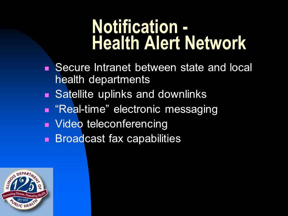 Notification - Health Alert Network Secure Intranet between state and local health departments Satellite uplinks and downlinks Real-time electronic messaging Video teleconferencing Broadcast fax capabilities