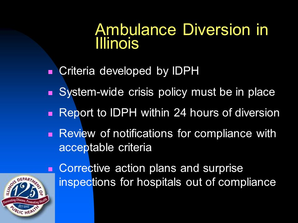 Ambulance Diversion in Illinois Criteria developed by IDPH System-wide crisis policy must be in place Report to IDPH within 24 hours of diversion Review of notifications for compliance with acceptable criteria Corrective action plans and surprise inspections for hospitals out of compliance