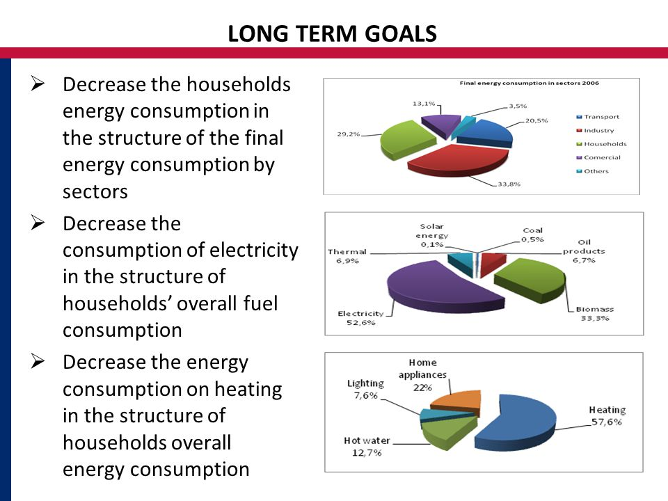 LONG TERM GOALS  Decrease the households energy consumption in the structure of the final energy consumption by sectors  Decrease the consumption of electricity in the structure of households' overall fuel consumption  Decrease the energy consumption on heating in the structure of households overall energy consumption